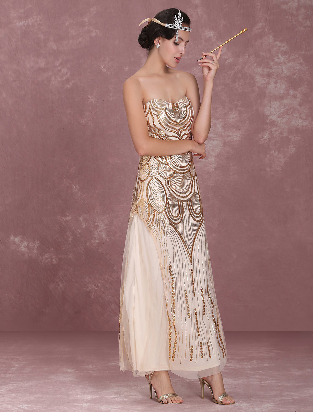7385f829871 Great Gatsby Flapper Dress 1920s Vintage Costume Women s Sequined Gold Maxi  Dress Halloween-No.
