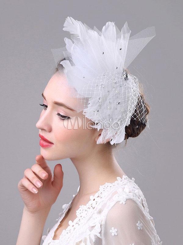 Piuma Fascinator bianco Royal retrò strass perline copricapo da sposa  matrimonio-No.1 ... d7bf95195276