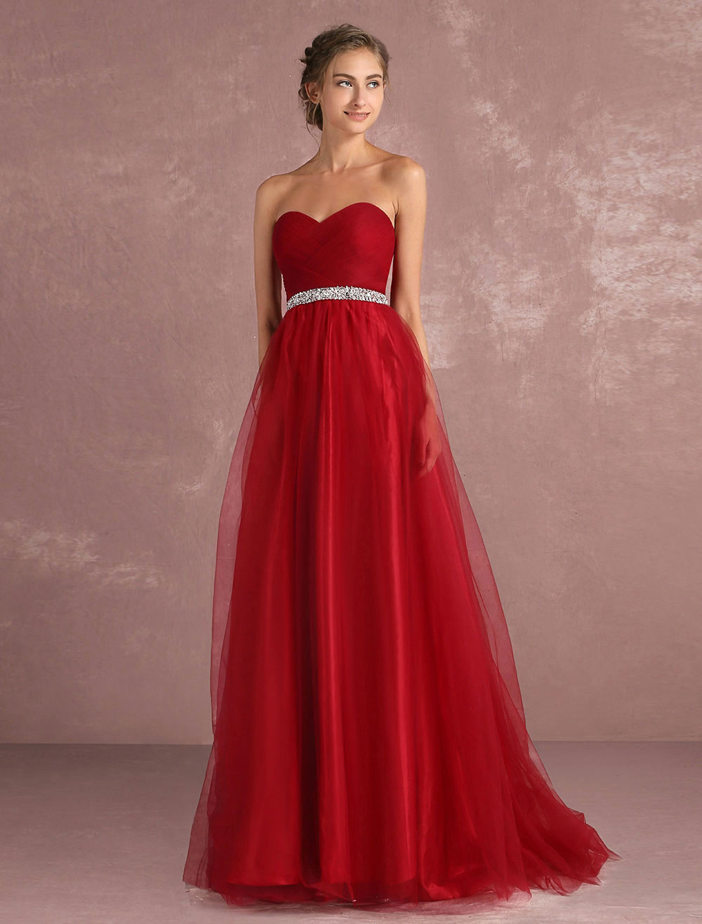 Red Prom Dresses 2018 Long Strapless Backless Tulle Evening Dress Sweetheart Sleeveless Rhinestones Sash A Line Party Dress With Train