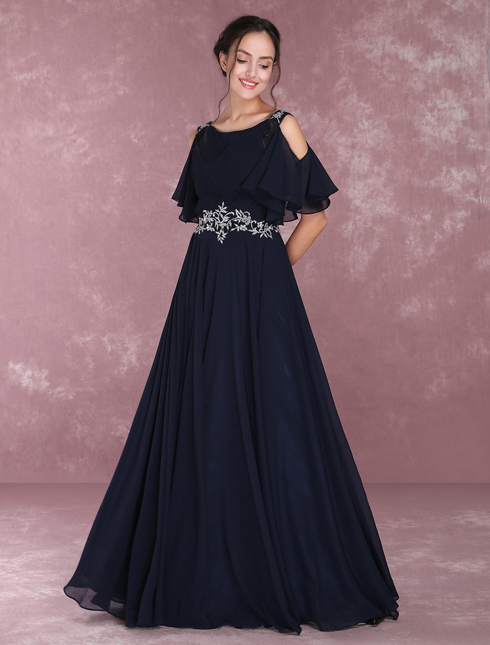 Chiffon Evening Dresses Dark Navy Beading Mothers' Dresses Short Sleeve Cold Shoulder Pleated Floor Length Party Dresses