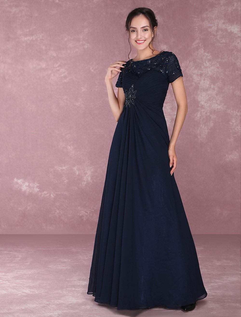 Buy Chiffon Mother Of The Bride Dresses Lace Applique Beading Evening Dresses Dark Navy Short Sleeve Pleated Floor Length Party Dress for $136.79 in Milanoo store