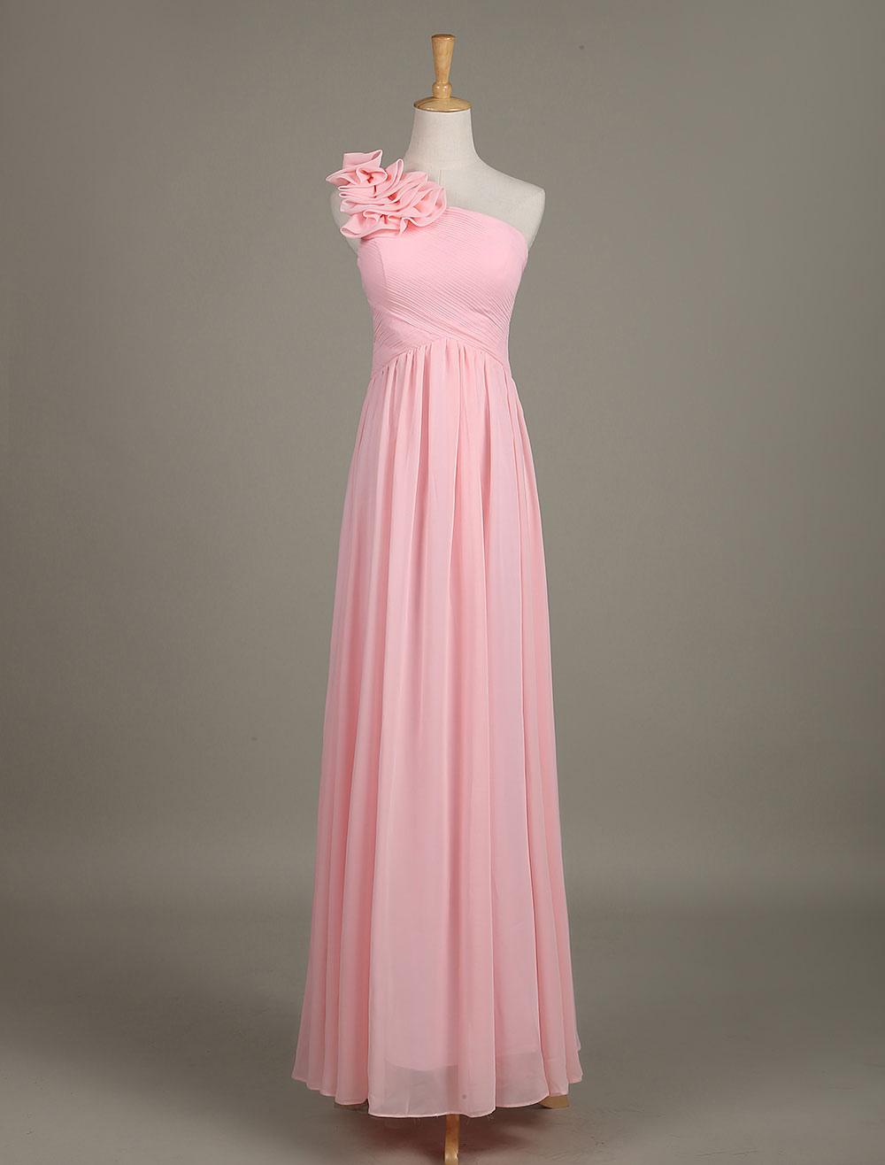 Blush Bridesmaid Dress Chiffon One Shoulder Ruffled Zipper A Line Long Wedding Party Dress