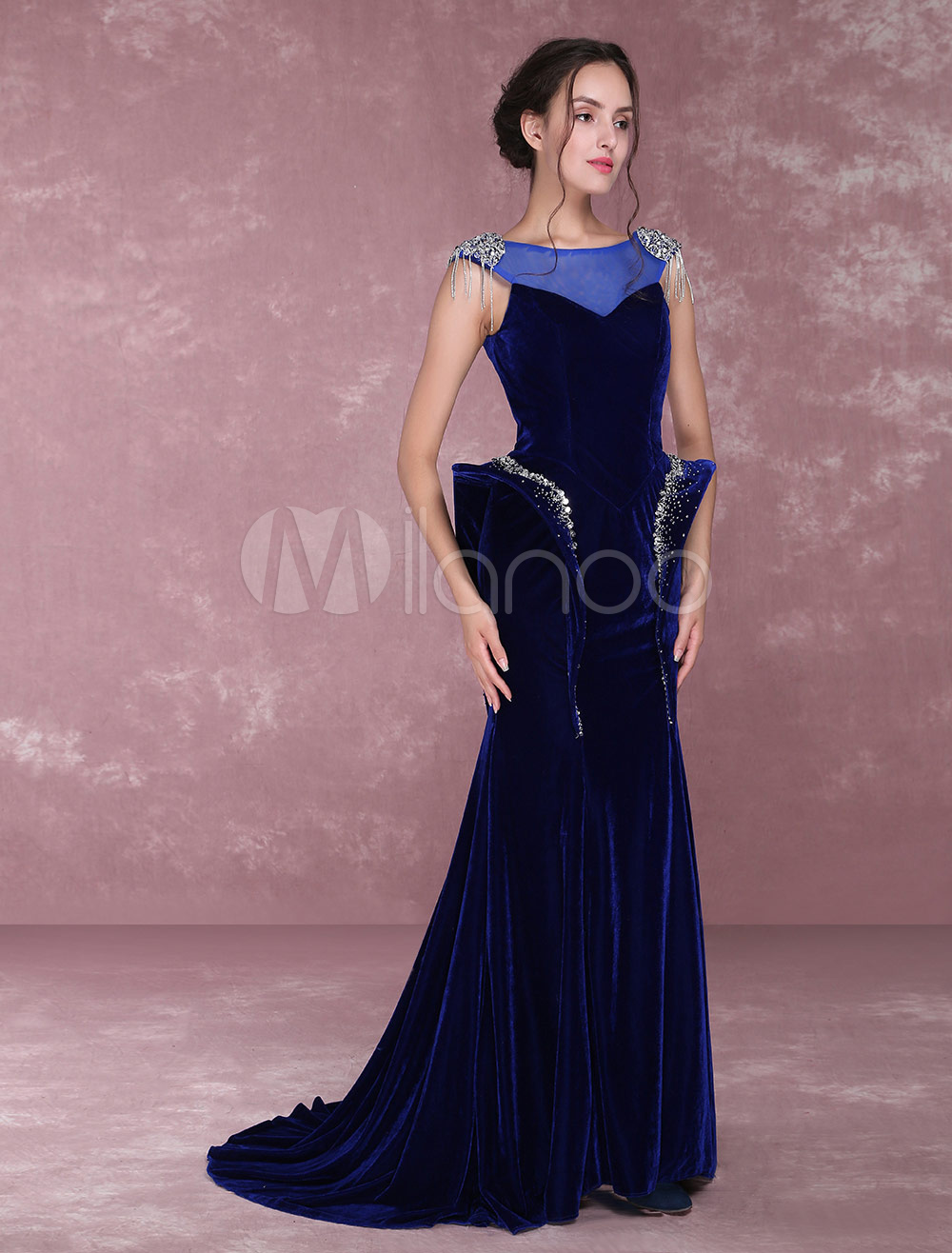 Velvet Evening Dresses Royal Blue Beading Illusion Mermaid Formal Party Dress