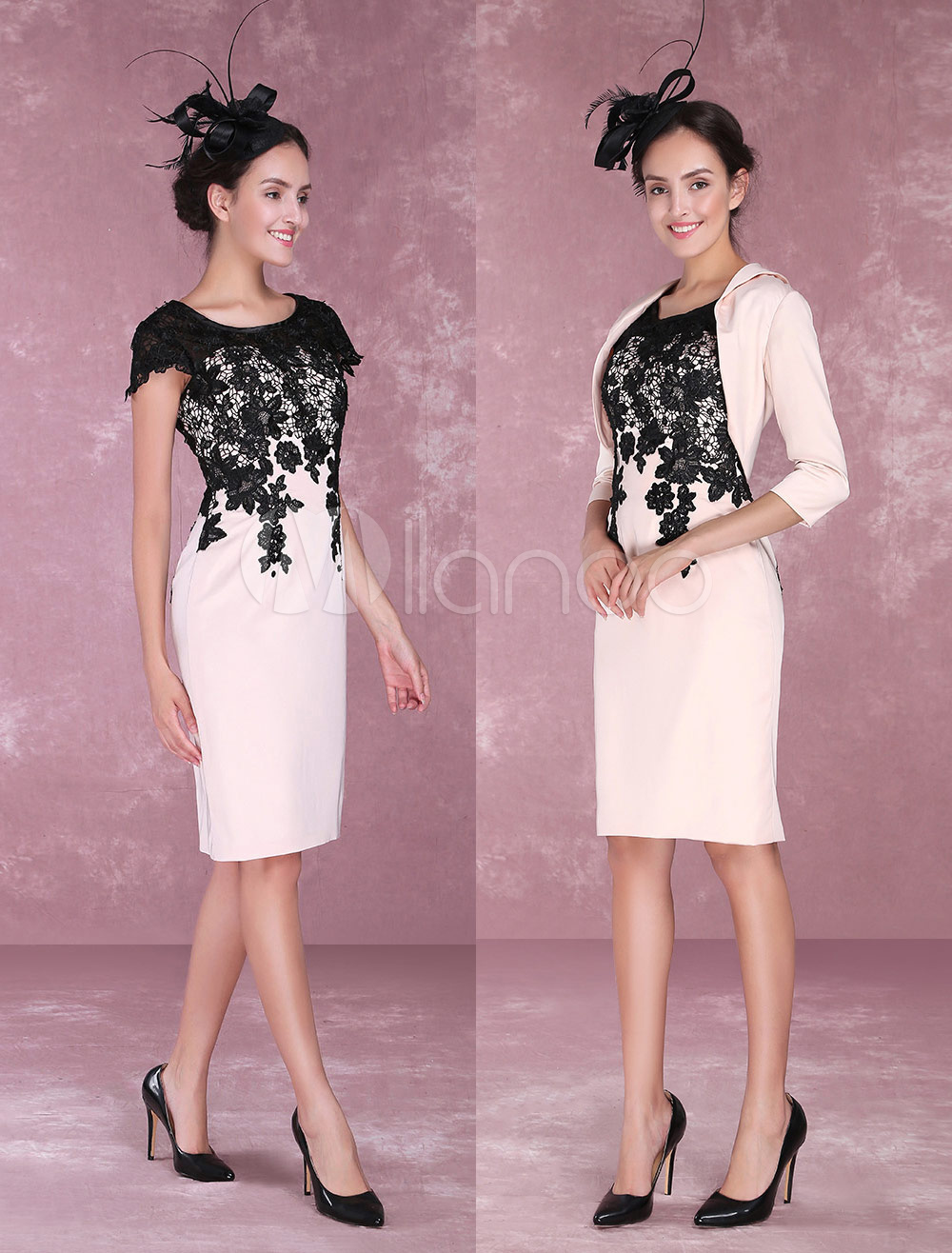 b2beab1eb9c Two Piece Mother Of The Bride Dresses Nude Lace Sheath Cocktail Dress Knee  Length Wedding Guest Dresses With Jacket - Milanoo.com