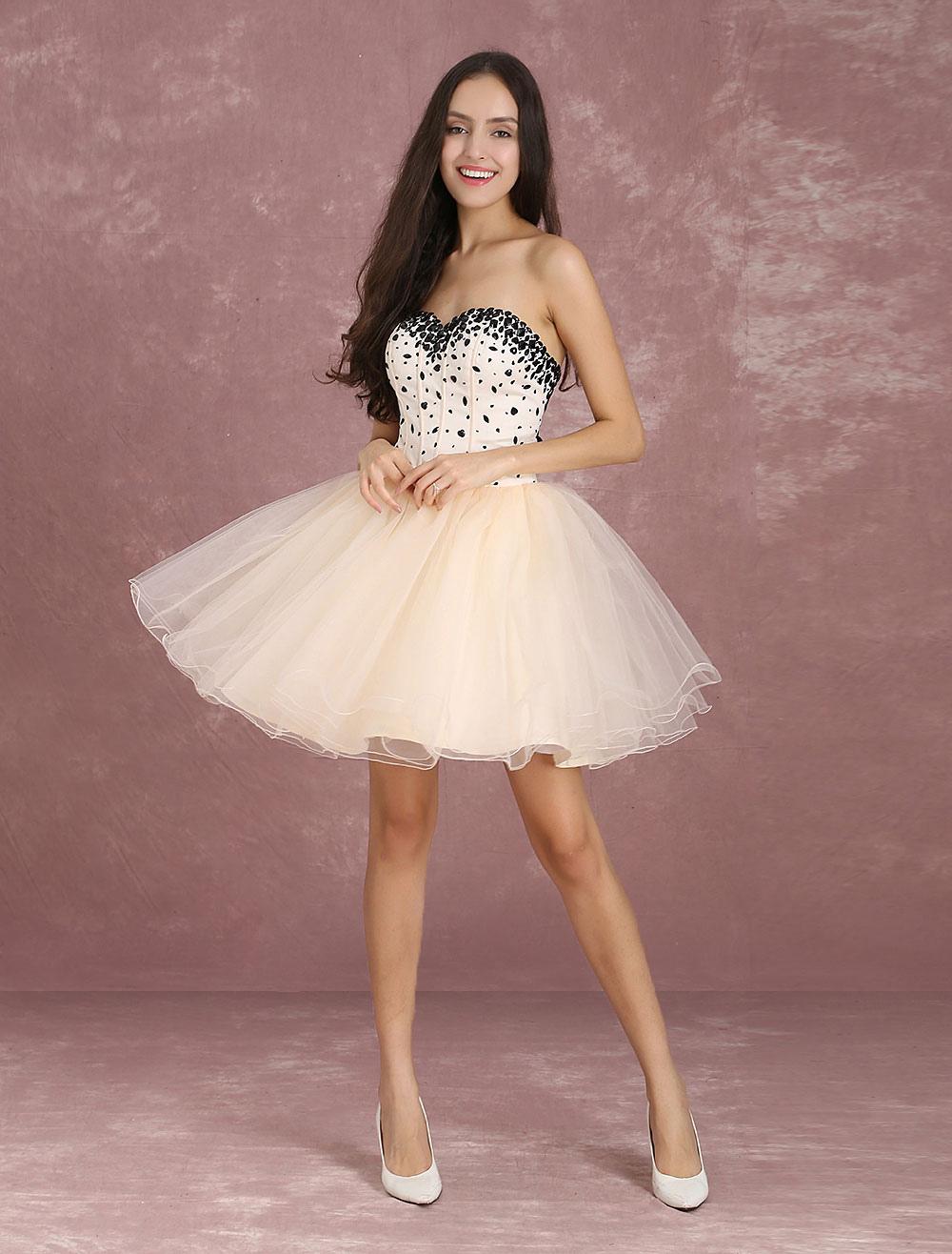 Champagne Homecoming Dresses Mini Sweetheart Strapless Short Prom Dress Tulle Beading Boned Party Dresses