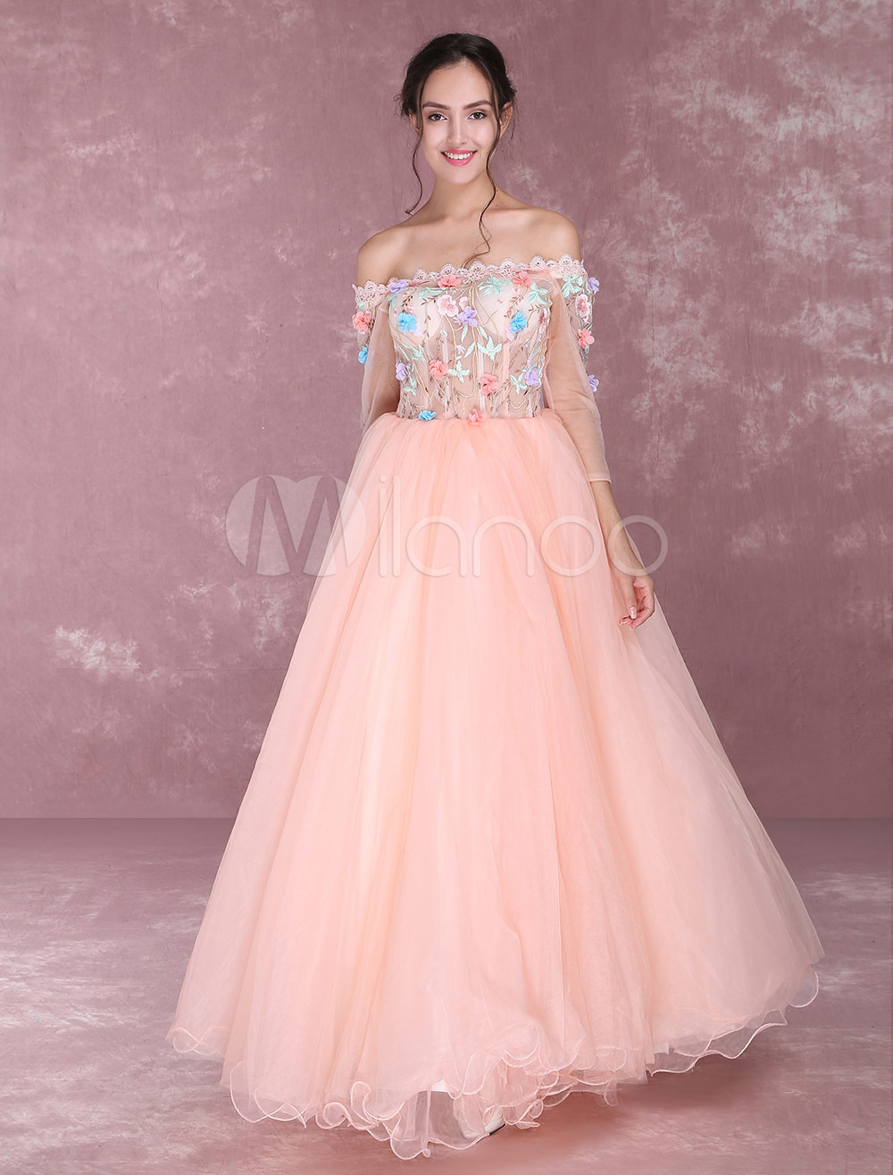 cb1f78039114 ... Shoulder Prom Dresses Flowers Applique Floor Length Pageant Dress-. 12.  32%OFF. Color Orange