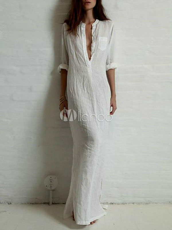 White Maxi Dress With Deep-V Cotton Flax for Women Cheap clothes, free shipping worldwide