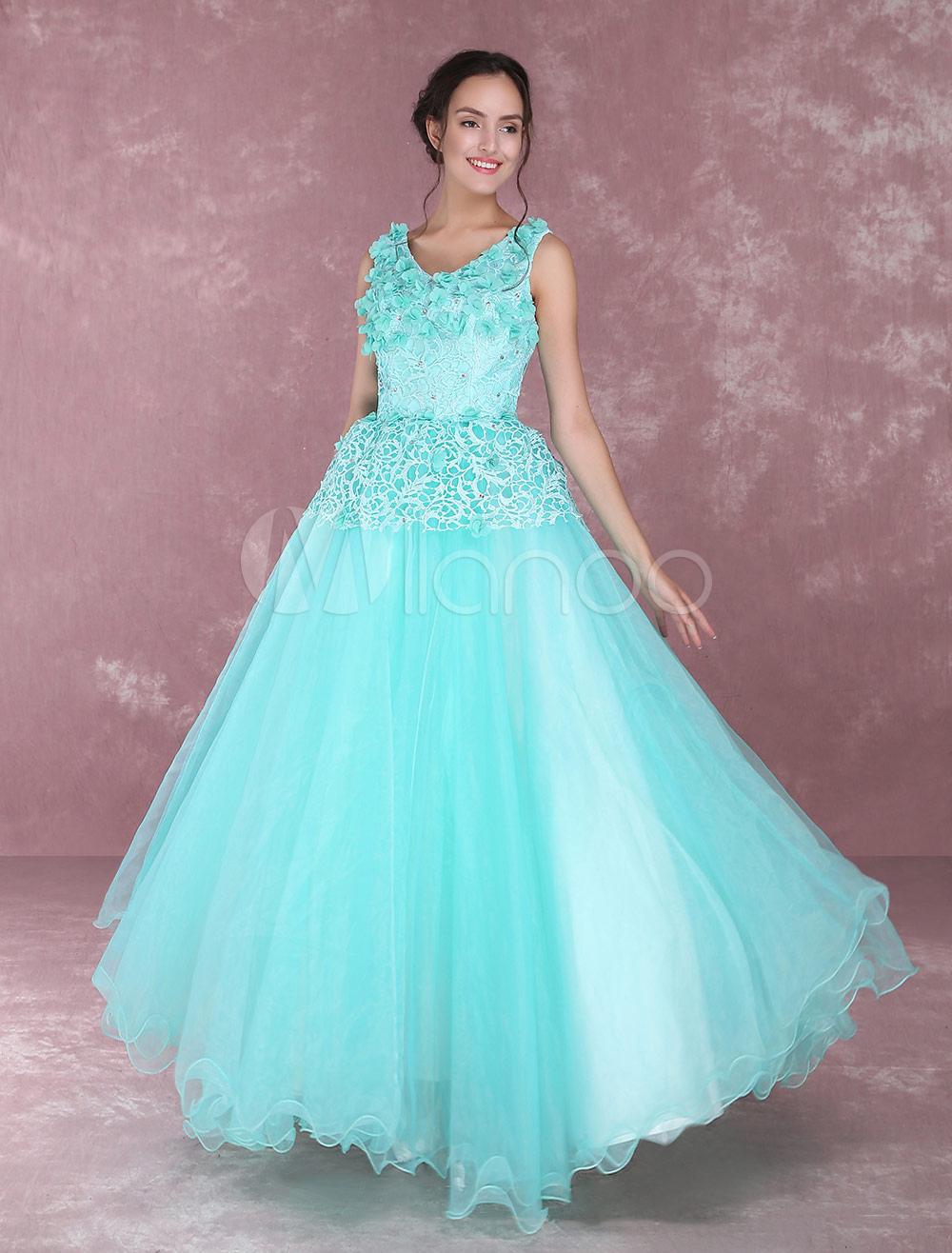 Turquoise Quinceanera Dresses Tulle 3D Flowers V Neck Floor Length Princess Pageant Dresses