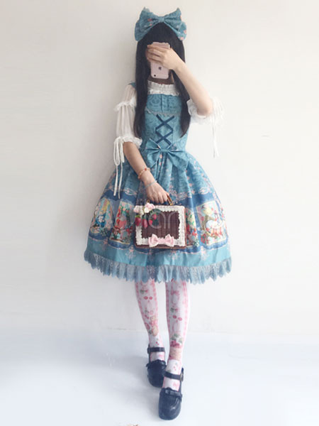 Buy Sweet Lolita Dress Little Fairytale Infanta JSK Illusion Blue Printed Lolita Jumper Skirt for $65.99 in Milanoo store