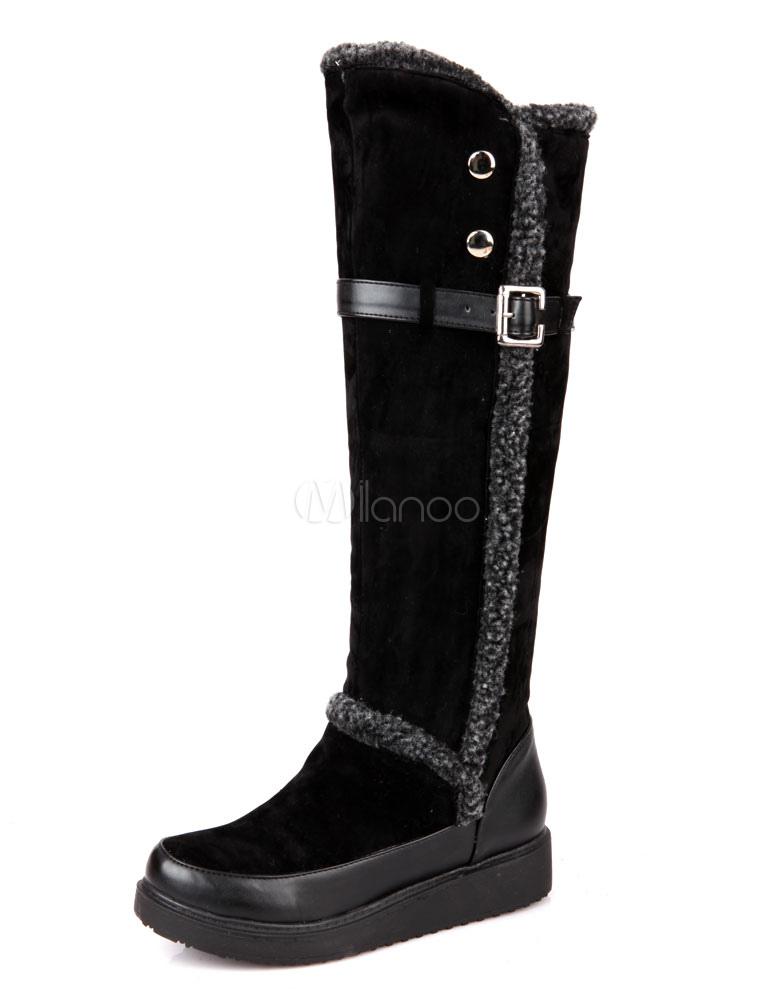 outlet 2a897 d91f6 Neve stivali donne alti al ginocchio stivali zeppa in camoscio con fibbia