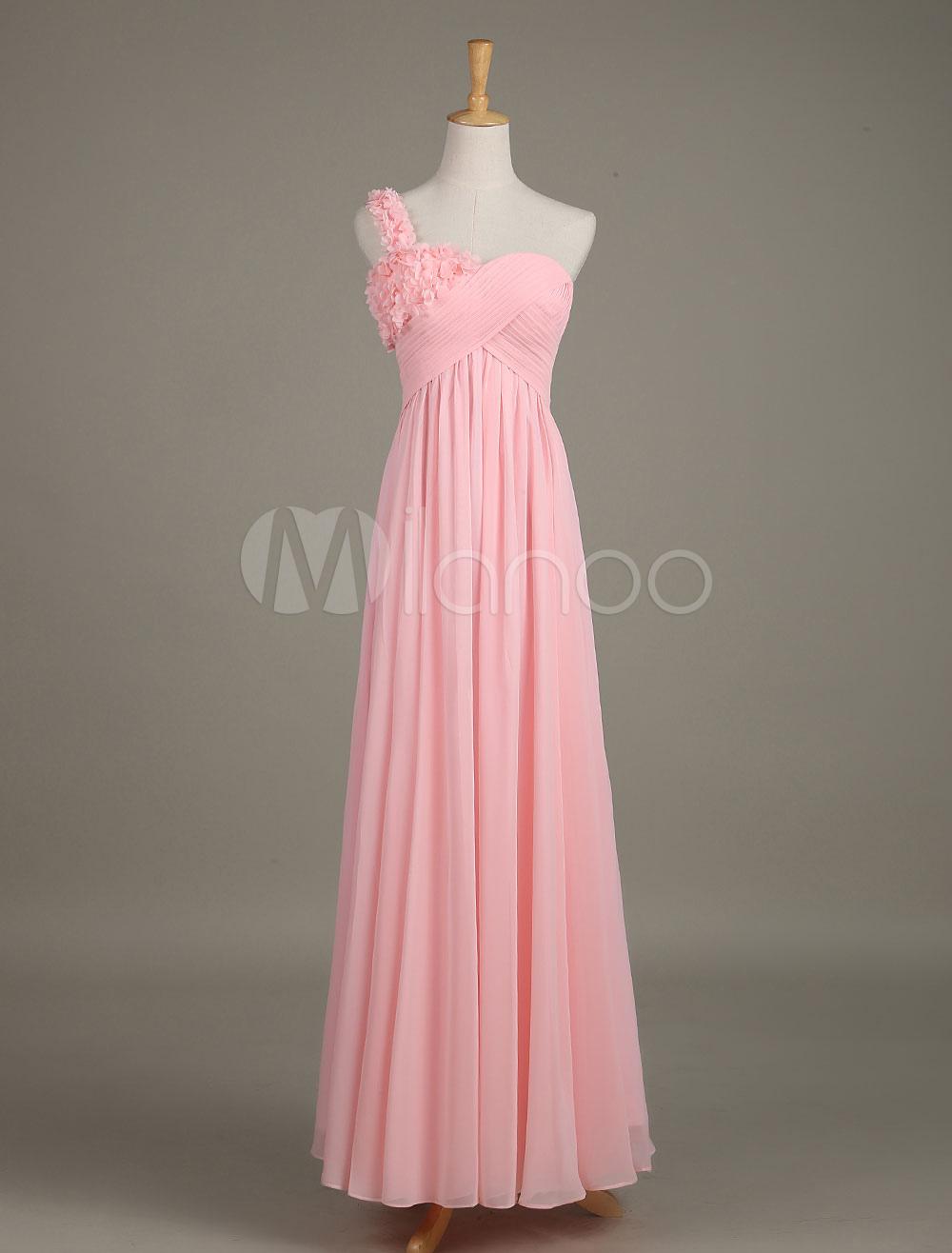 Blush Bridesmaid Dress Soft Pink One Shoulder Flower Chiffon Draped A Line Maxi Wedding Party Dress
