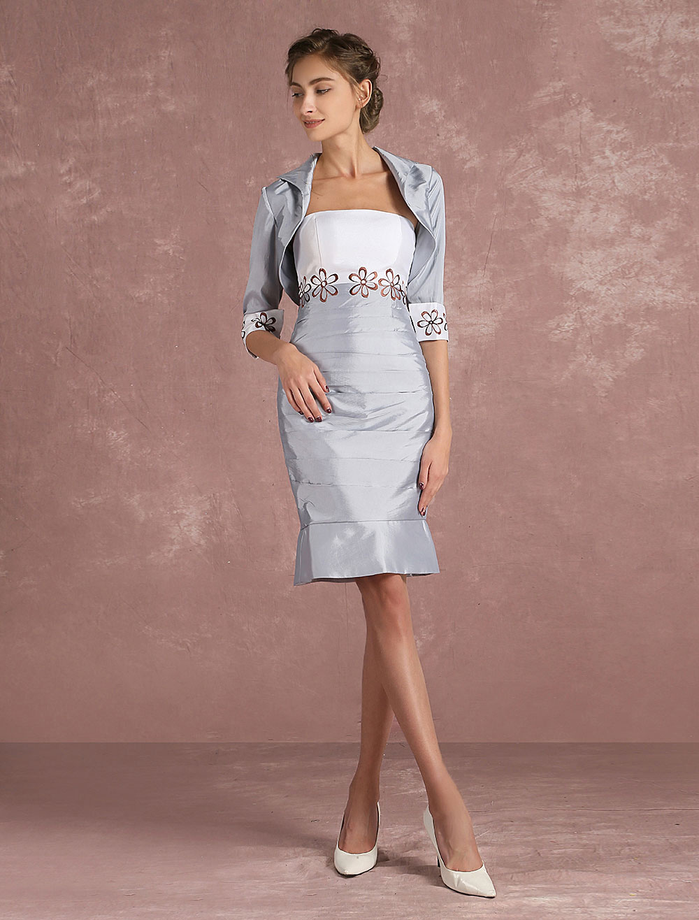 a119cbd8956 ... Mother Of The Bride Dress Silver Taffeta Sheath Cocktail Dress 2 Piece  Embroidered Short Party Dress. 12. 45%OFF. Color Silver