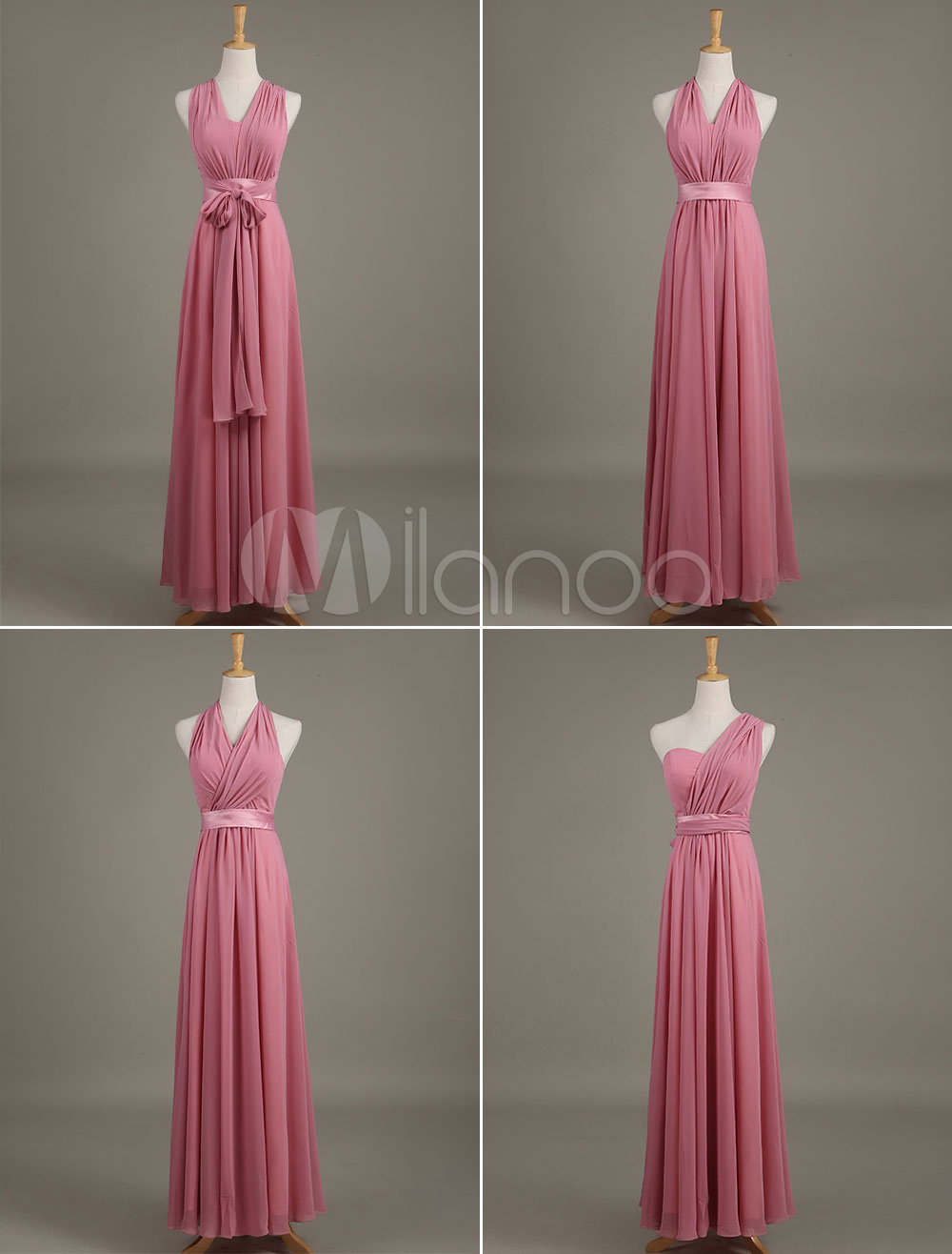 Multiway Bridesmaid Dress Fuchsia Pink Sash Sweetheart A Line Long Wedding Party Dress