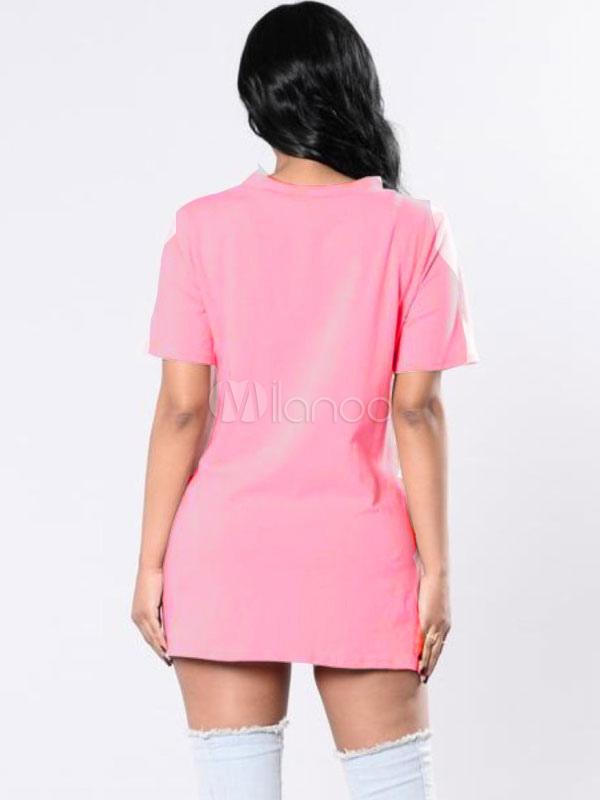 df2251022ebc0 ... Black T Shirt Dress Women V Neck Short Sleeve Cut Out Letters Print  Mini Dress-
