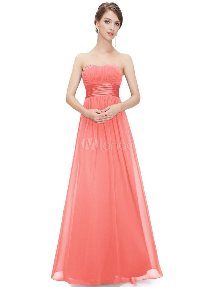 Vestido de Dama de Honor Largo con escote palabra de honor hasta el ...
