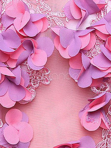 240820f9c7 Vestido para quinceañeras Rosa púrpura con cuello en V sin mangas de encaje  -No.
