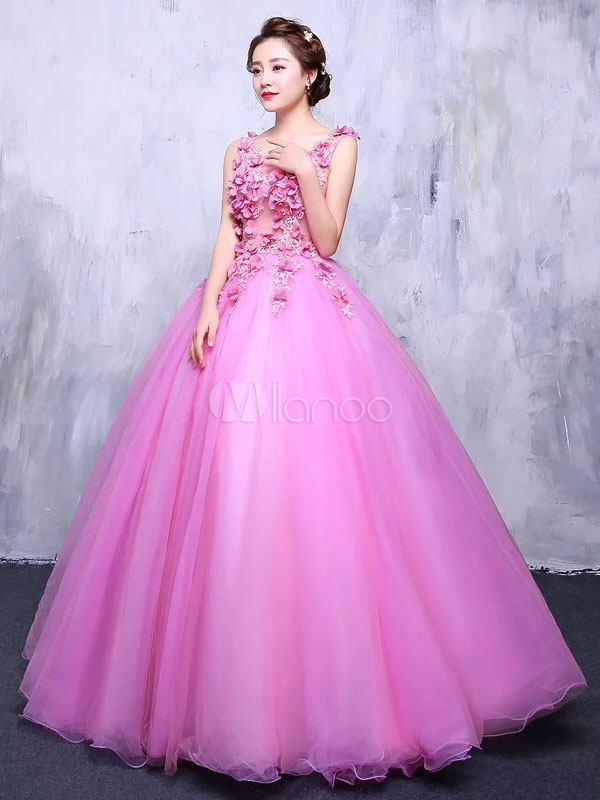 Fuchsia Pink Quinceanera Dress Tulle Princess Pageant Dress Lace Flower V Neck Floor Length Prom Dress
