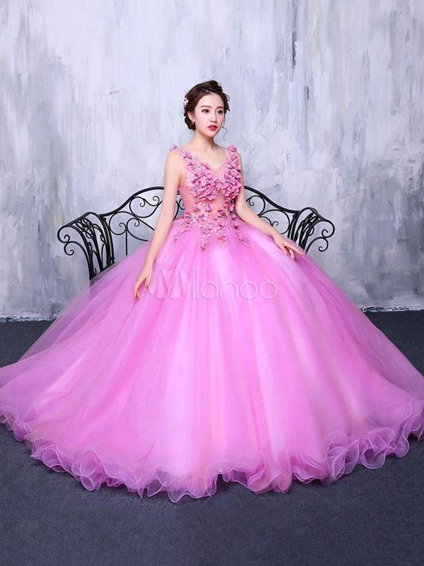 2bcd7e42b1f5 ... Vestito festa 18 anni rosa Fucsia gonna da pricipessa con scollo a V a  fiori a ...