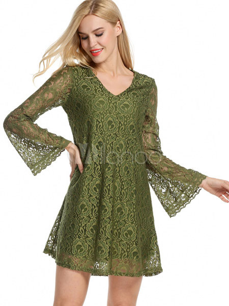 e0a169215891 Green Lace Dress V Neck Illusion Bell Sleeve Women s Summer Swing Dresses-No.  ...