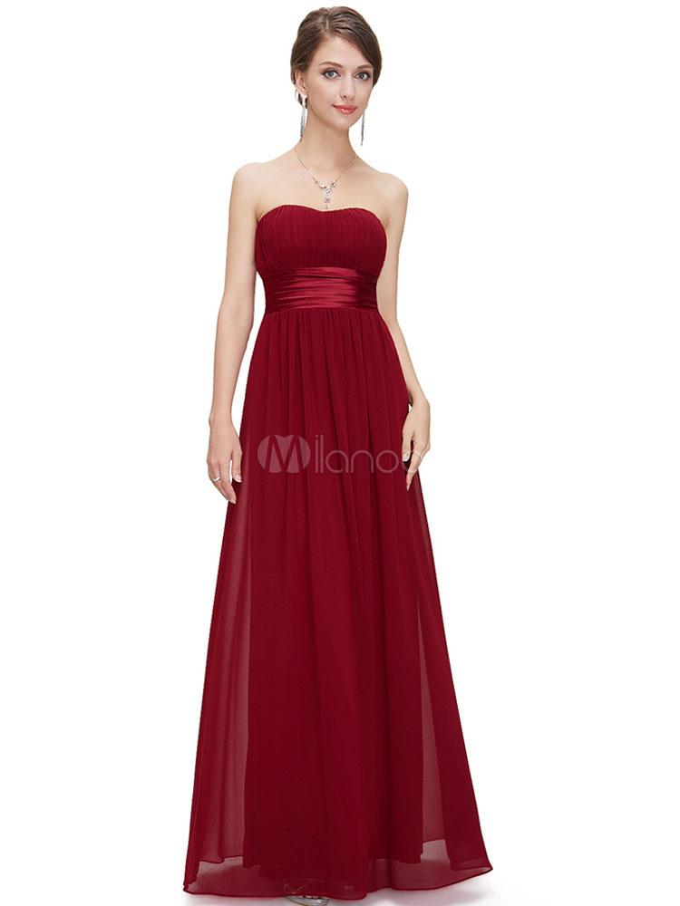 Long Bridesmaid Dress Burgundy Chiffon Prom Dress Strapless A Line Floor Length Party Dress