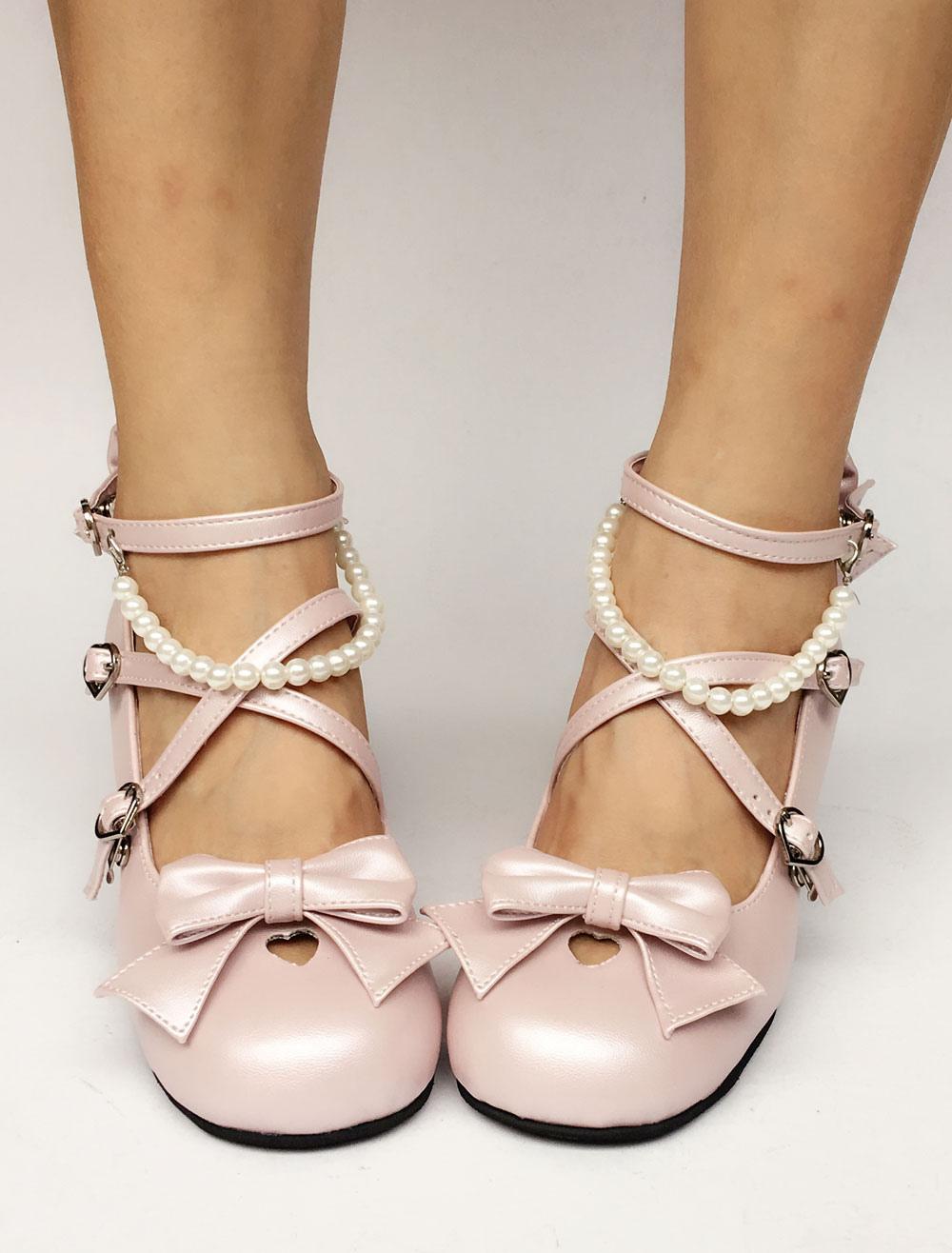 Zapatos de lolita de PU de puntera redonda con lazo de color rosado de perla estilo street wear DQFMNB