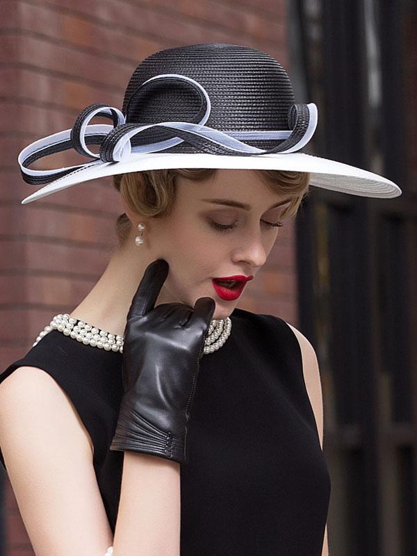 34258b552 Vintage Sun Hat Audrey Hepburn Women's Black Strappy Retro Summer Hat  Halloween
