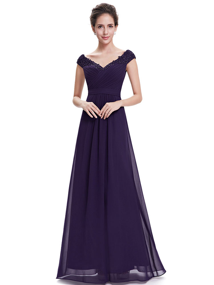 Buy Lavender Mother Dress Chiffon Evening Dress V Neck Lace Applique Beading Pleated A Line Floor Length Wedding Guest Dresses for $167.19 in Milanoo store