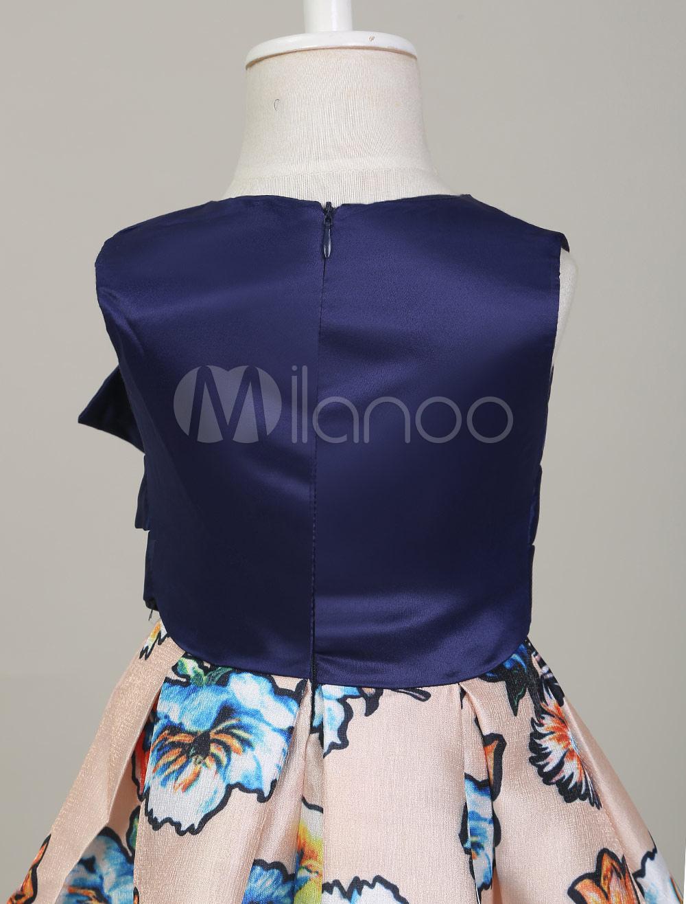 Kleider Baumwollen In Dunkelblau Blumenmädchen Linie Mini Mit Kleid Und Gemischten Reißverschluss Stickereien A Nnwm80