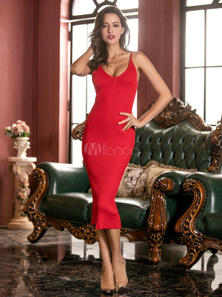 Red Bodycon Dress Sleeveless Women s Back Slit Sheath Slip Dress ... 98d712f86