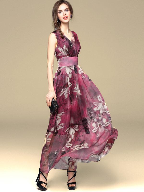 Chiffon Maxi Dress 2018 Floral Summer Dress Women Long Party Dress