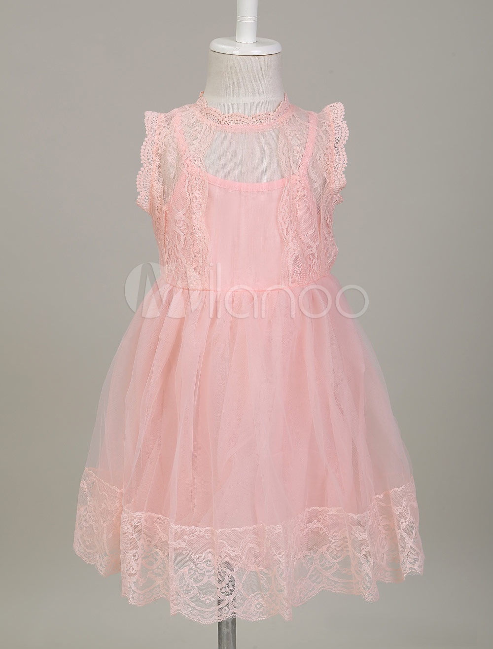Buy Flower Girl Dresses Soft Pink Lace Princess Tutu Dress Illusion Knee Length Kids Social Party Dress for $16.09 in Milanoo store