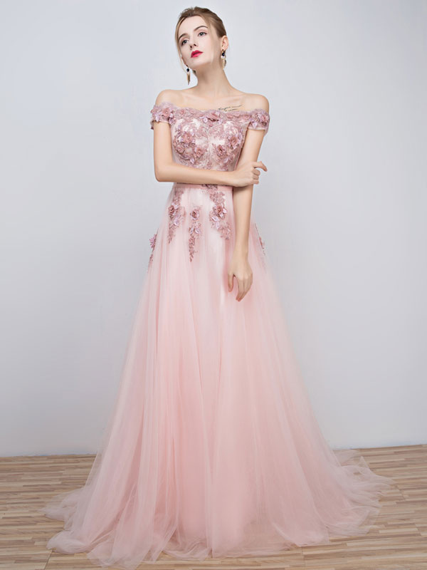 Buy Pink Prom Dresses 2018 Long Tulle Off The Shoulder Prom Dress Lace Applique Beading Flower Occasion Dress With Train for $90.99 in Milanoo store