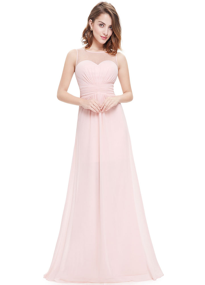Chiffon Evening Dresses Pink Bridesmaid Dresses A Line Illusion Sleeveless Pleated Floor Length Party Dresses