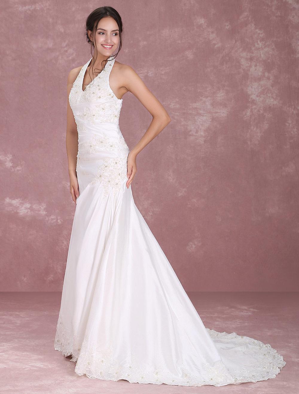 White Halter V-Neck Embroidery Beaded Taffeta Wedding Dress