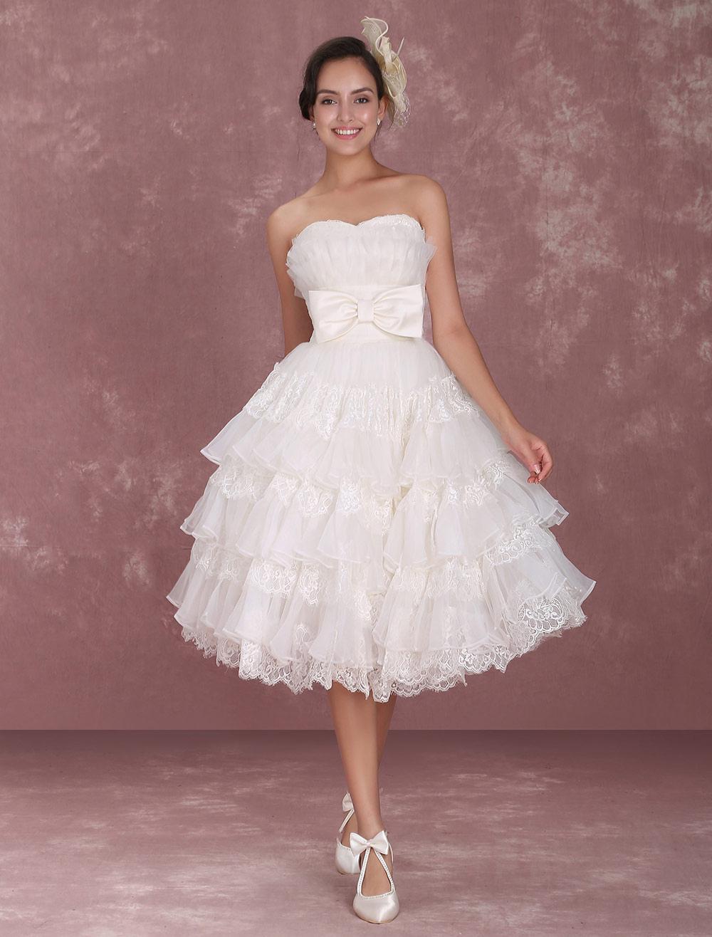 abcd1ea0725 Robe de mariée gracieuse A-ligne ivoire en organza multicouche effet  encolure coeur Milanoo- ...