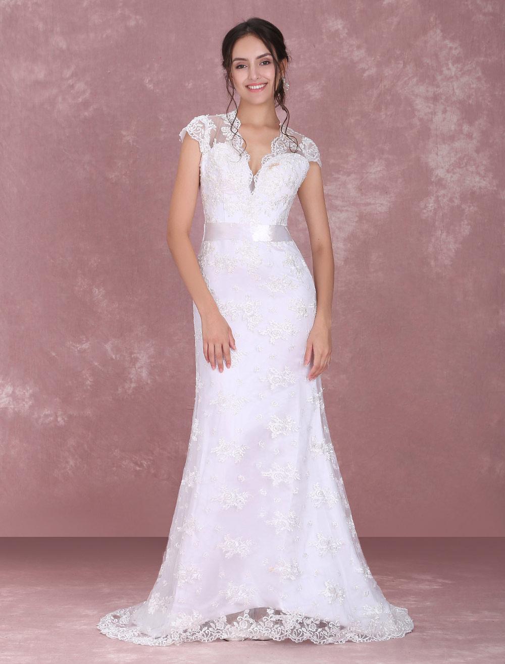 c987872c4f ... White Wedding Dress Lace V Neck Bridal Dress Backless Illusion Keyhole  Ribbon Sash Wedding Gown With ...