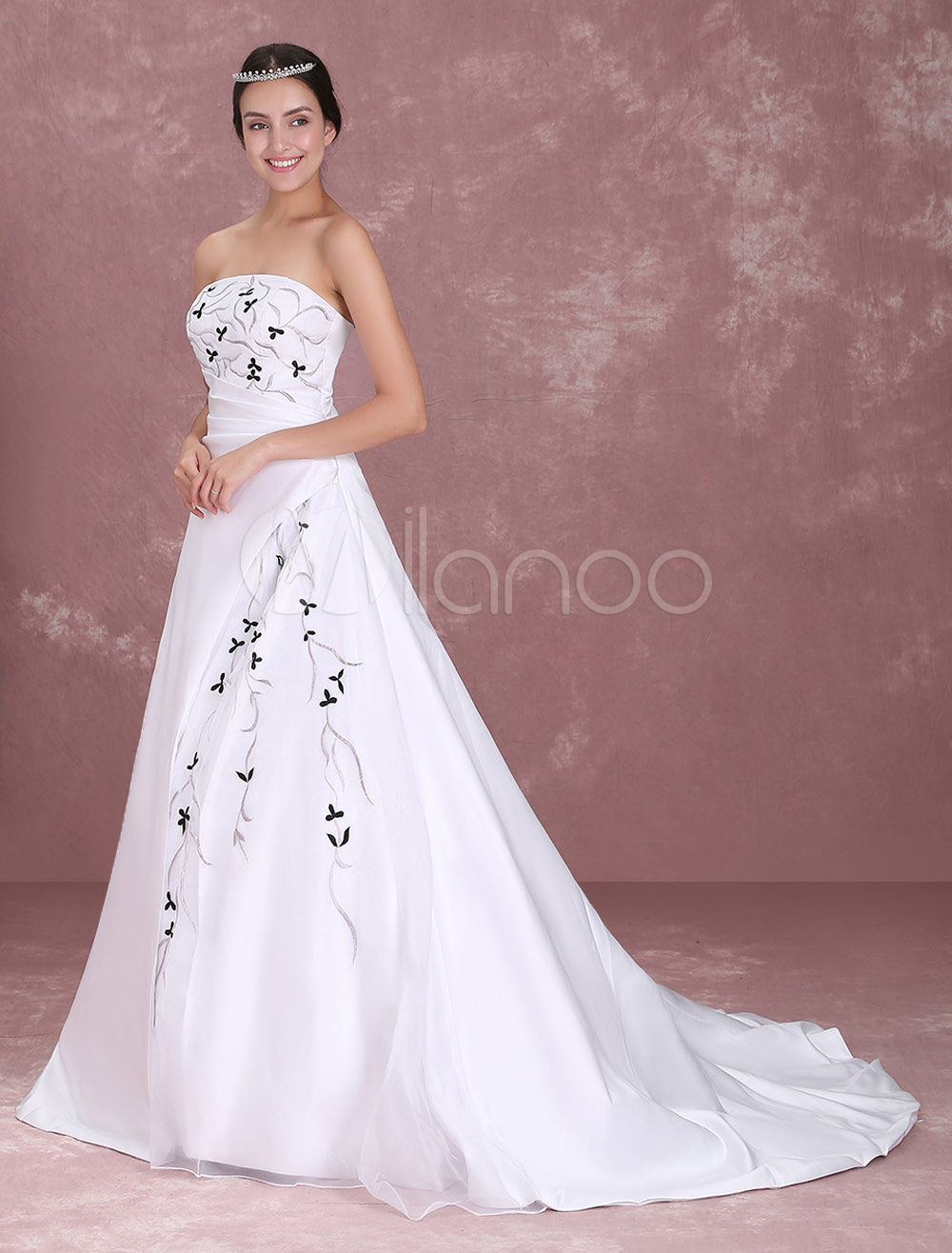 White Rococo Strapless A-line Satin Lace Wedding Dress