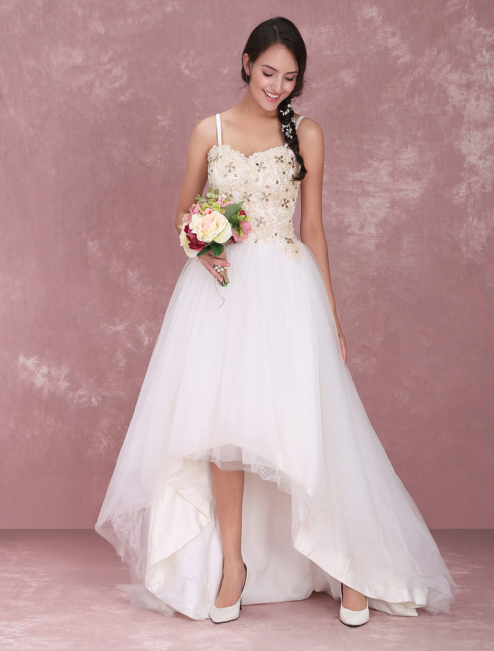 a-line sweetheart spaghetti strap asymmetrical bridal wedding