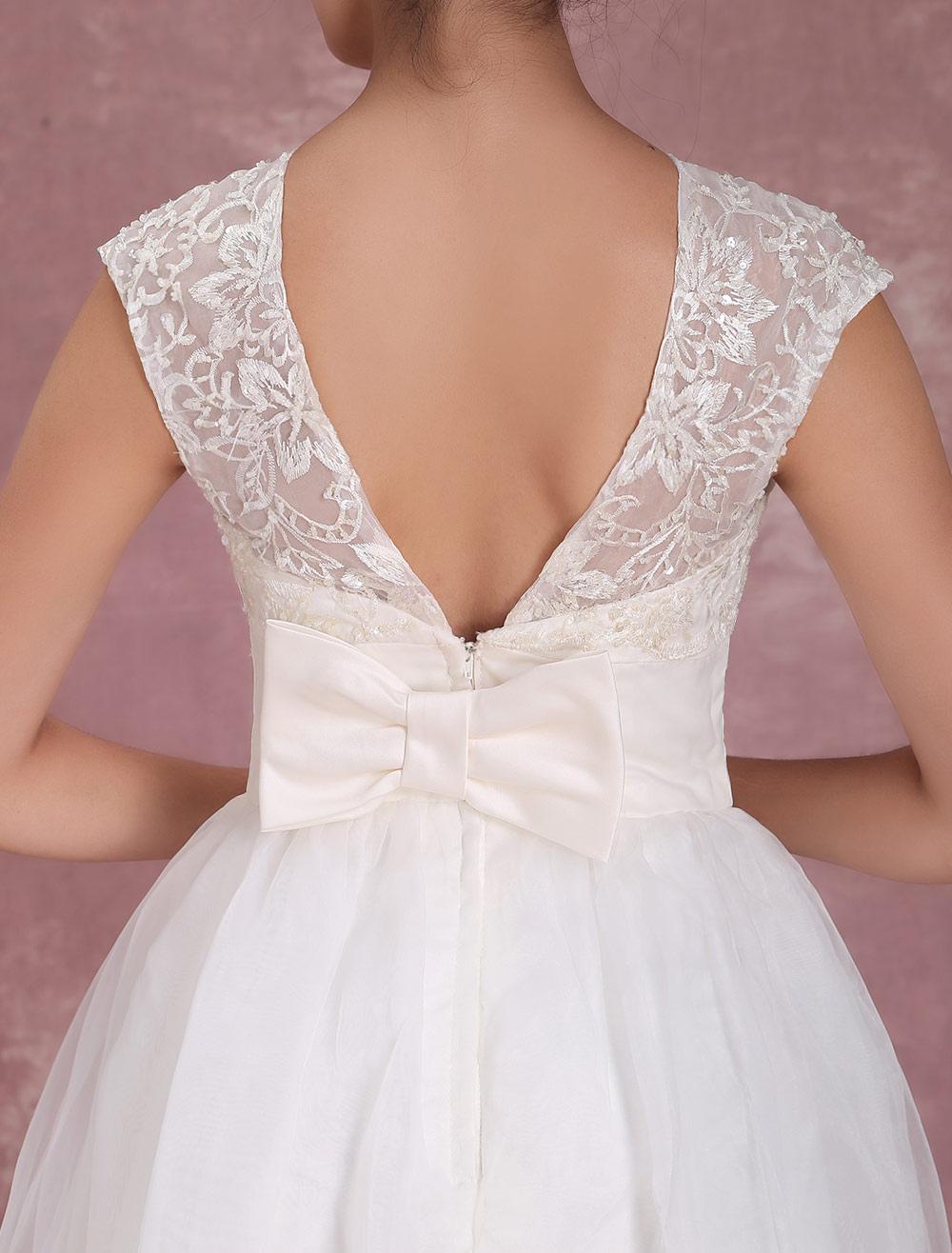 Milanoo / Elegant Net Round Neck Mini Wedding Dress