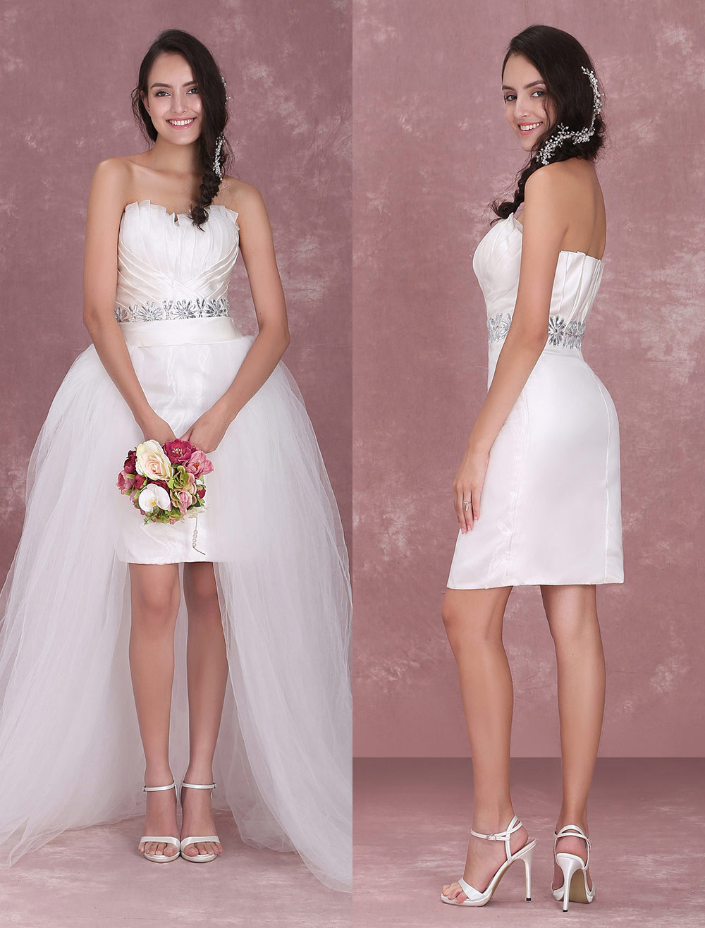 Ivory Sheath Sweetheart Neck Rhinestone Organza Bridal Wedding Dress ...