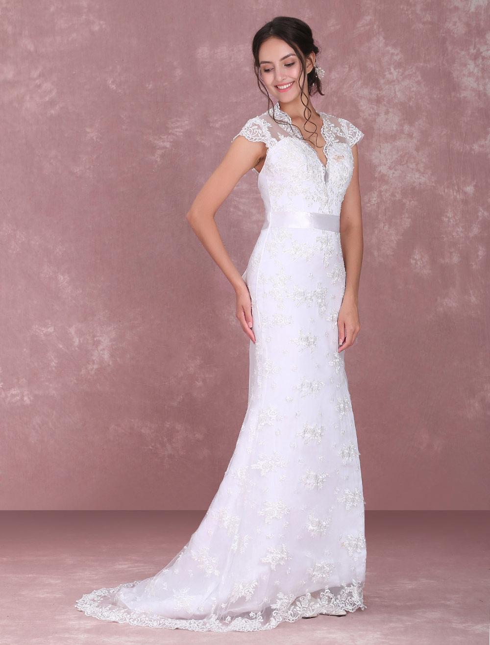 Vestido de novia blanco Vestido de novia con cuello en V de encaje ...