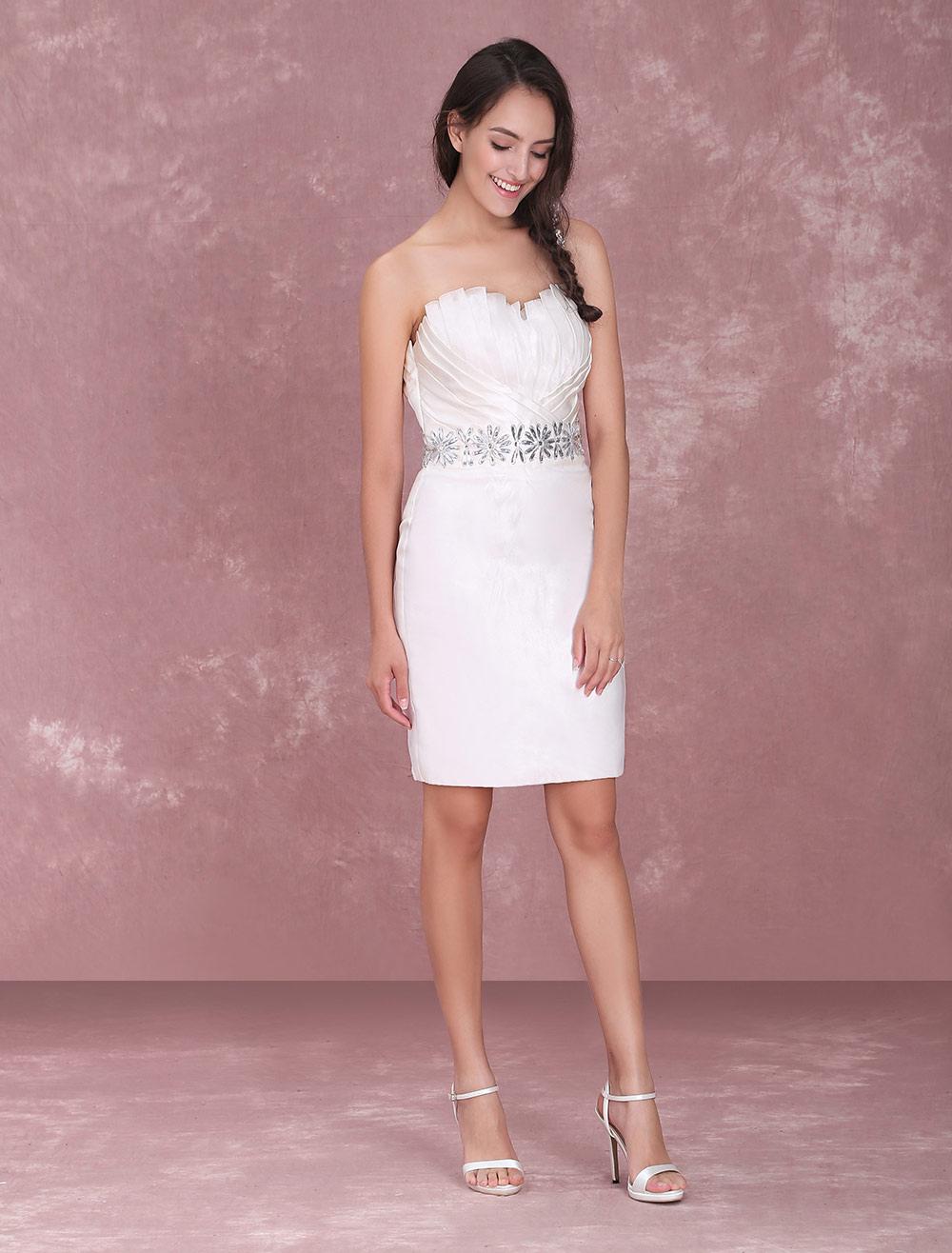 0decd04addaf ... Ivory Sheath Sweetheart Neck Rhinestone Organza Bridal Wedding Dress  Milanoo-No. ...