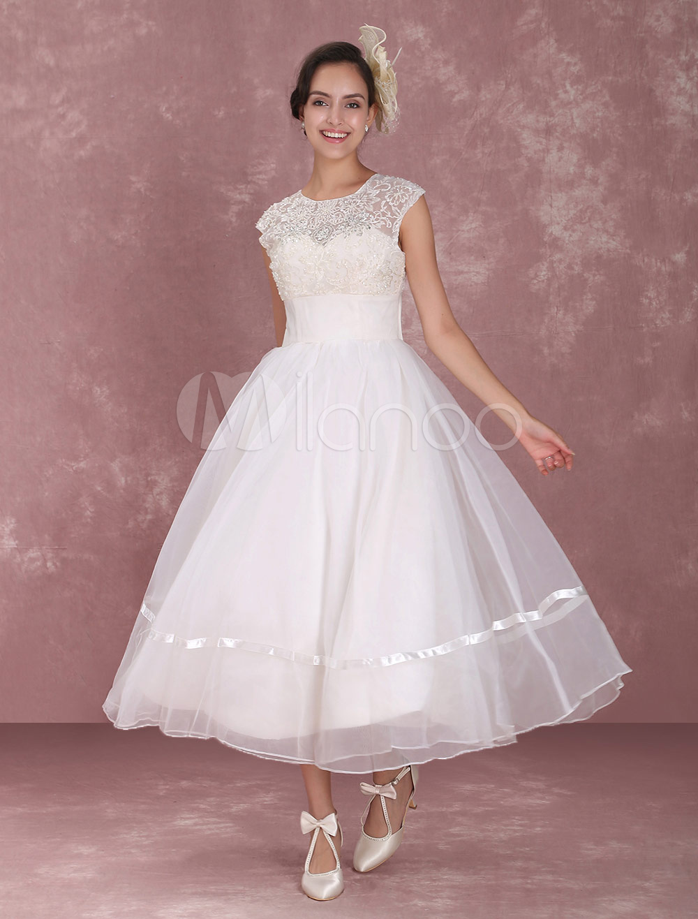 Milanoo / Elegant Net Round Neck Mini Wedding Dress