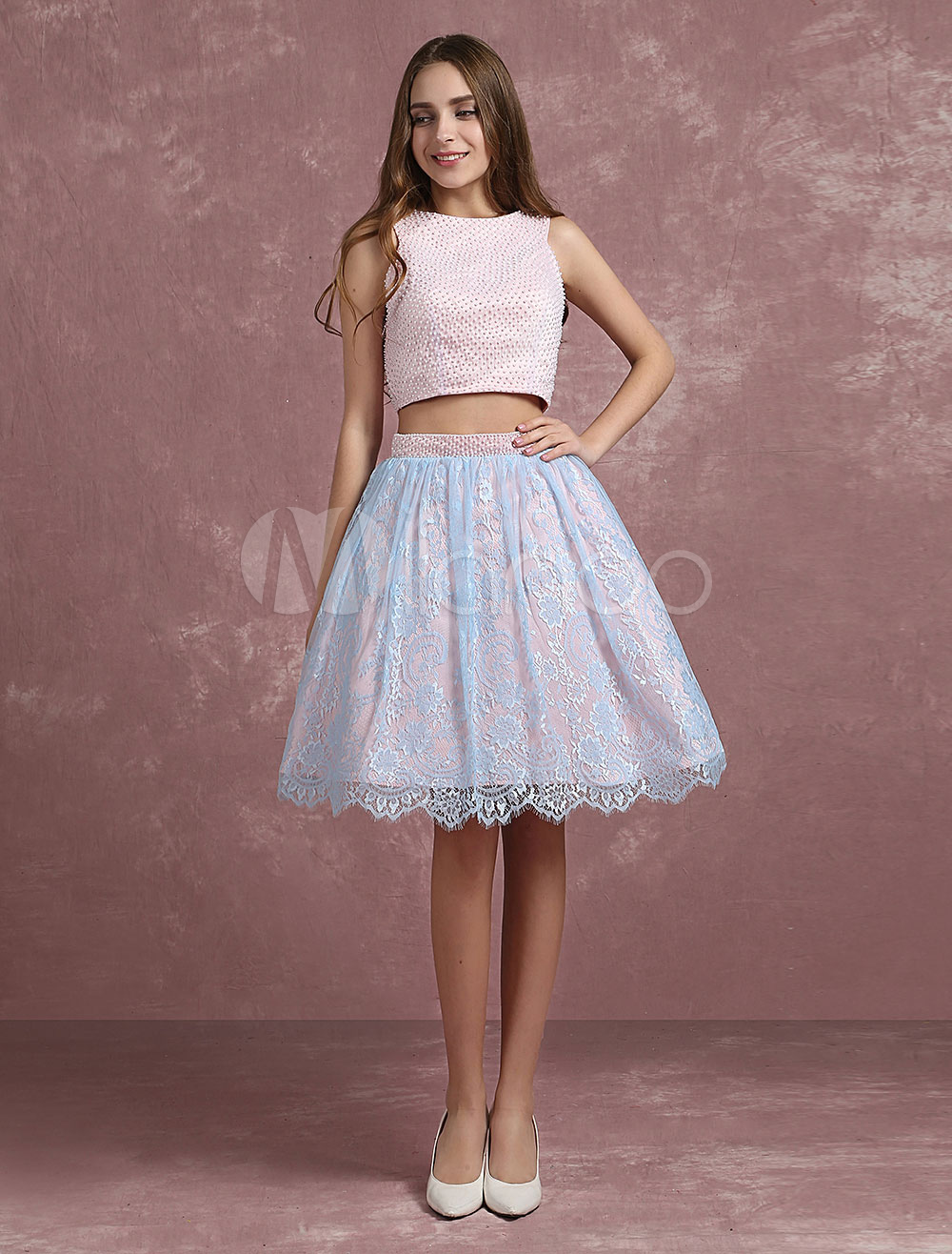 26f5634e8ef Two Piece Prom Dress 2019 Short Soft Pink Crop Top Cocktail Dress ...