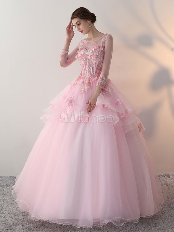 5c3193c4cd2d Princess Quinceanera Dresses Soft Pink Flowers Applique Ball Gowns Keyhole  Illusion Sweetheart Boned Tulle Floor Length ...