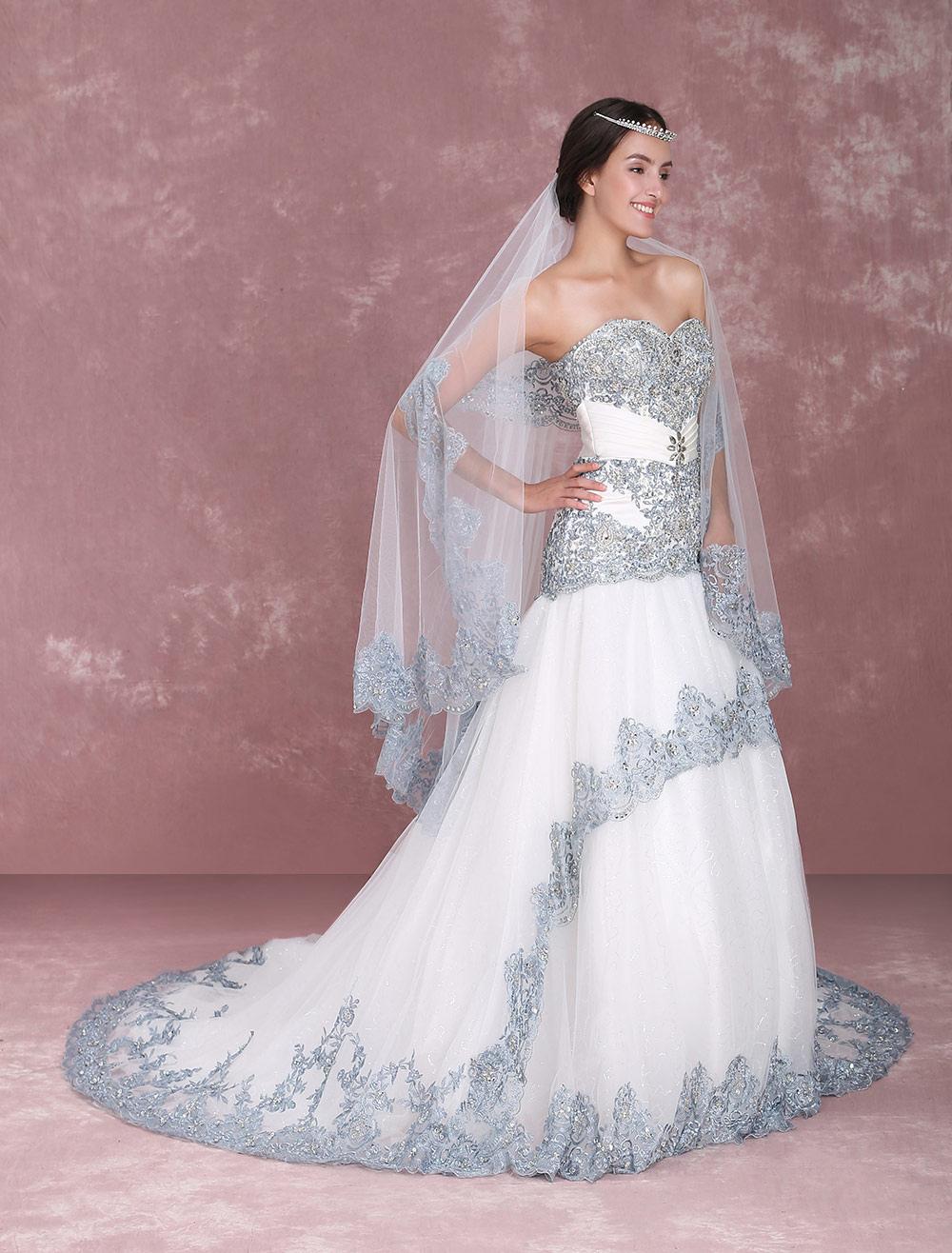 Sweetheart Strapless Lace Mermaid Wedding Dress with Rhinestones Detailing Milanoo