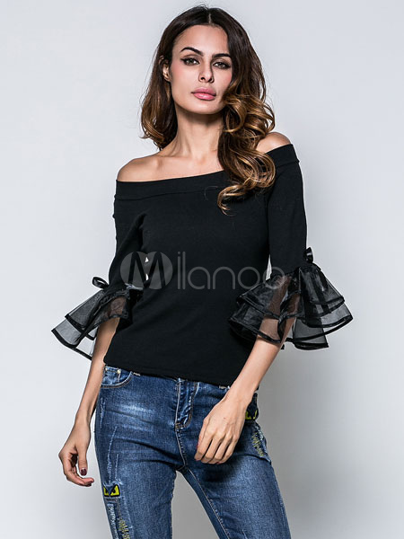 Black Cotton Blouse Organza Patchwork Off The Shoulder Half Sleeve Ruffles Bow Decor Stylish Blouse Cheap clothes, free shipping worldwide