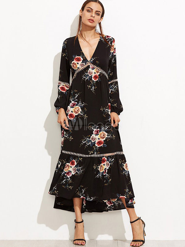 Buy Boho Maxi Dress Women's Black V Neck Long Poet Sleeve Floral Printed Ruffles Pleated Long Dress for $35.99 in Milanoo store