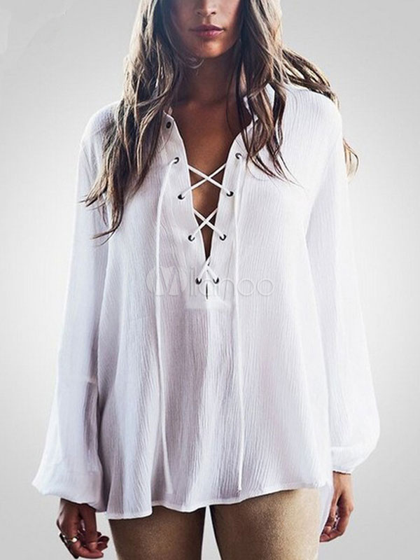 White Chiffon Swimwear Women's Lace Up High Low Long Sleeve Beach Cover Up March 2018. New collection, free shipping.