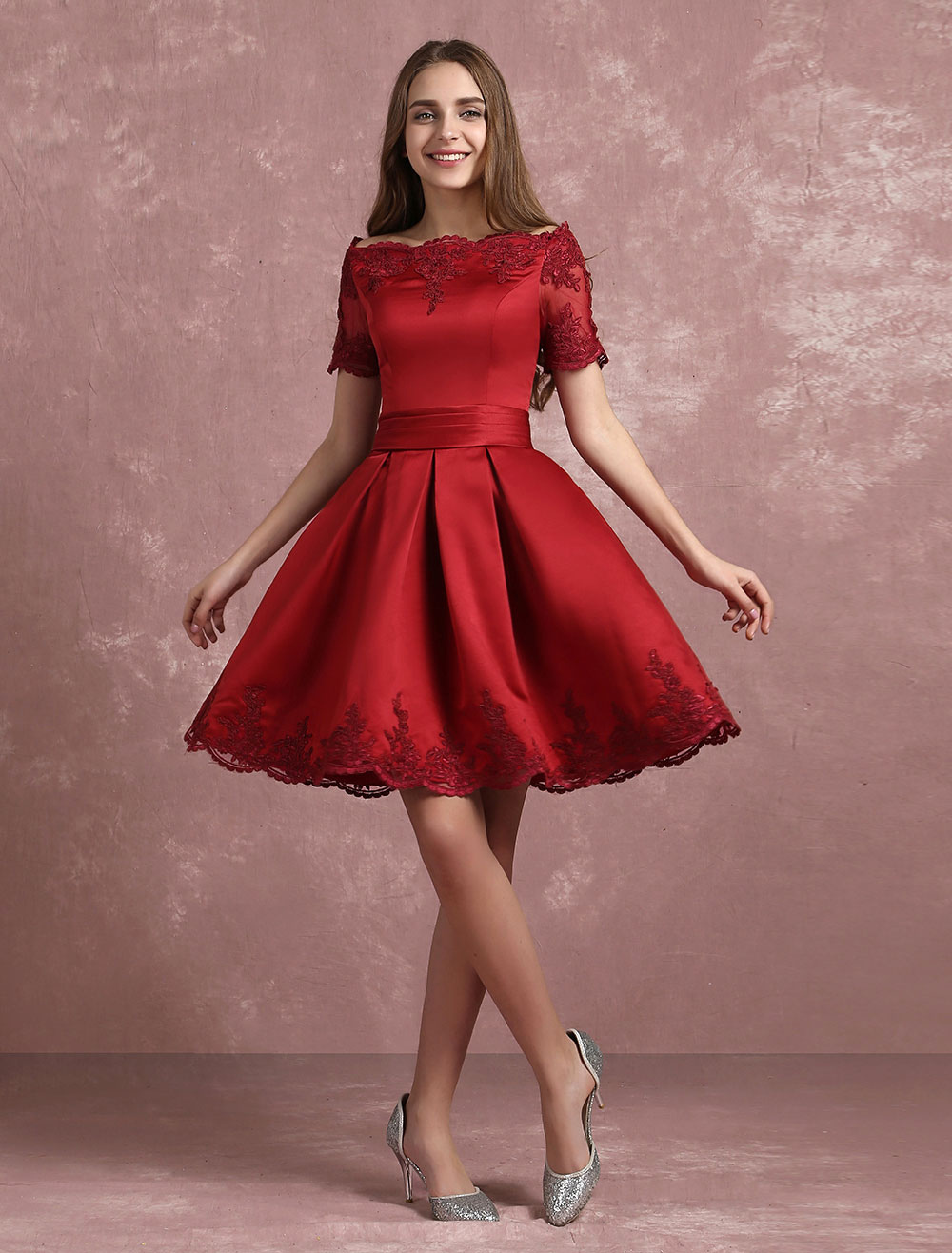 Buy Burgundy Homecoming Dress Bateau Lace Applique Short Prom Dress Satin Short Sleeve Pleated A Line Party Dress for $100.79 in Milanoo store